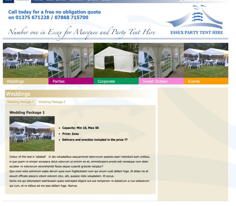 Essex Party Tents Demo Site
